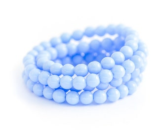 NEW! Alice Blue Czech Glass Bead Spacers, Pastel Blue Druks, Pressed Opaque Smooth Rounds (4mm) x 50