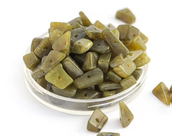 21g Semi Precious Drilled Stones, Chip Beads, Opaque Olive Green, Organic Shape 3-10mm