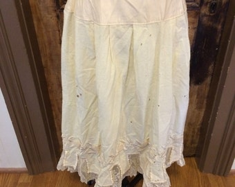 Vintage Original Historical Antique Unique wool embroidered petticoat with tabs and lace