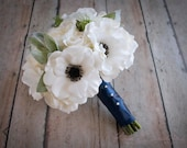 White Rose and Anemone Wedding Bouquet with Lambs Ear and Succulents - Ready To Ship Bouquet