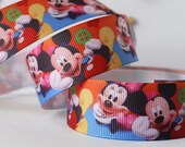 CLEARANCE SALE*FREE Shipping~ 5 yards x  Grosgrain Ribbon 25mm Disney Mickey Minnie Ribbon Sewing Notions