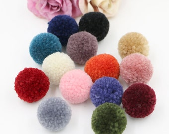 28 pcs Colorful Yarn Pom Pom Balls ( 2.5 cm ) Girls Hair Clips Hairbands Embellishment