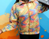Vintage 90s Windbreaker Jacket, 90's Silk Women's Track Suit Top in Geometric Aztec Print, Womens Hip Hop Party Zip Up Bomber Medium M