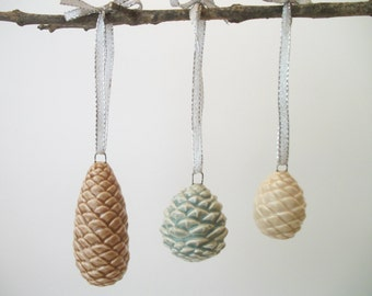 Handmade Vintage Ceramic Pine Cone Ornaments, Set of 3, Christmas Ornaments, Christmas Gift Ideas, Christmas Decoration, Holiday Ornaments