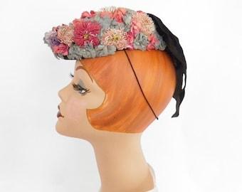 1930s/40s tilt hat, flowered,  black velvet