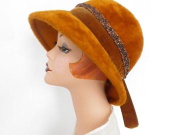 Vintage 1960s hat, fedora faux fur, Austria, Lazarus