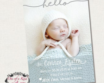 Digital 5x7 Photo Birth Announcement Card Template for Photographers, PSD Template, Instant Download