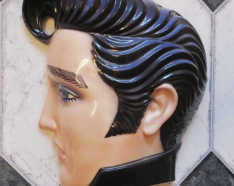 Clay Art Ceramic Wall Mask, Jenny McLain's Elvis Presley Decorative Wall Hanging