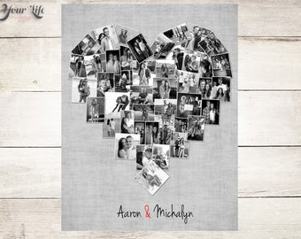 BLACK & WHITE Photo Collage, Personalized Anniversary Gift, Photo collage,  Anniversary gift for husband,  Anniversary gift for wife
