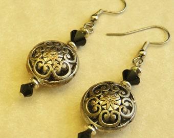 Silver & Black Swarovski Crystal Earrings Pierced Dangle Handmade