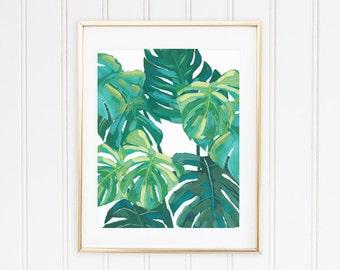 Monstera Leaf Print, Tropical Rain Forest Art, Monstera Art, Jungle Wall Art
