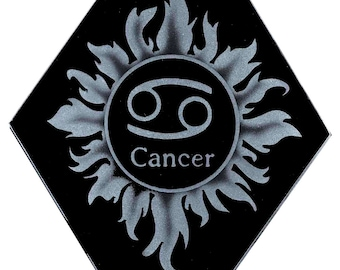Carved Glass Zodiac Sign - Cancer - Hanging Suncatcher