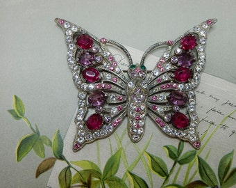 Large 1930s Rhinestone Butterfly Pot Metal Brooch    NBO21