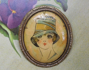 1920s Celluloid Flapper in Hat Cameo Style Brooch
