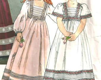 Little Miss Vogue Pattern 1800 Girls Long Dress Size 3 1980's VintageFlower Girl Dress