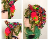 Electric Rock Headpiece Reconstructed Royal Beaded Sequin Crown Headband rave the night away party monster