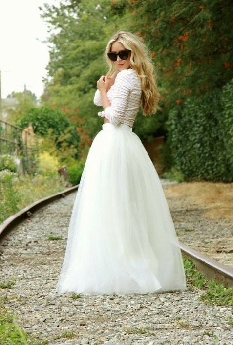 Long Ivory tulle tutu skirt, maxi skirt, color of your chose