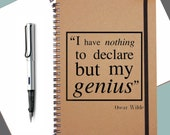 Oscar Wilde|Quote Notebook|Student Gift|Funny Quote|Genius Quote