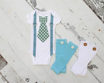 Baby Boy 1st Birthday Outfit Set up to 3 Items. Tie and Suspender Bodysuit,  Baby Blue Pants, & Leg Warmers. Summer Outfit, 2nd Birthday