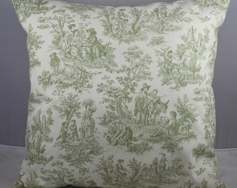 Pillow Cover Waverly Sage Green and Ivory White French Toile 20x20 inches