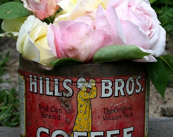 Vintage Shabby Hills Bros Brothers Coffee Tin Can Last Copyright Date 1936 Great Home Decor