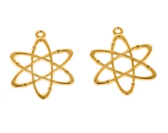 5pcs. Gold Plated Chemistry Science Atom Charms Pendants - 33mm X 26mm - 1.3 in x 1 in