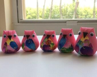 5 mini plush owls plush owl favors owl baby shower - Lot 3