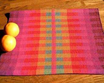 Gourmet Kitchen Towel,  Woven Cotton Towel, Rainbow Blocks, Woven Hand Towel, Woven Dish Towel, Orange Hue, Dish Towel, Fingertip Towel