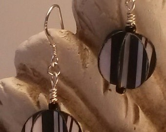 White Paper Orb Silver Hook Ear Wire Earrings