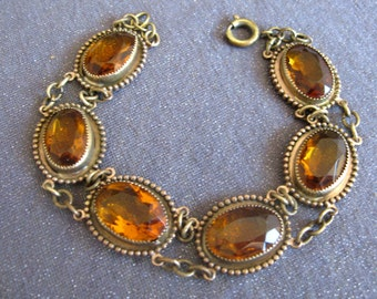 topaz bracelet, art deco bracelet, gemstone bracelet, art deco jewelry, old bracelet, collector jewelry, linked stone bracelet