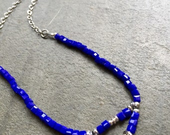 Mothers Day Pendant Necklace with a Semi precious Sky Blue Beads on a Silver Plated Chain by VZuniga Designs