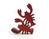 Wooden Lobster Sea Toys Waldorf  Miniature Wood Noah's Ark Animals Zoo Ocean Play Miniature Lobster Figurine Redheart