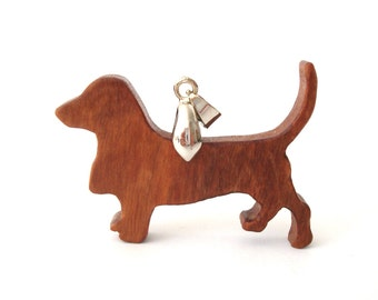 Basset Hound Dog Necklace Hand Cut Wood Pendant Scroll Saw Cherry