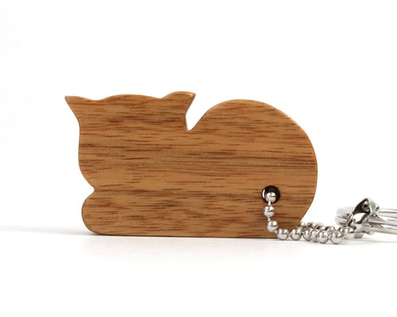 Cat Key Chain Kitten Key Chain Wood Scroll Saw Outline Animal Key chain Cat Key Fob Cat Key Ring Canarywood