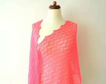 pink bridal shawl, fine lace wrap, wedding cover up, delicate wool, handknit lace stole