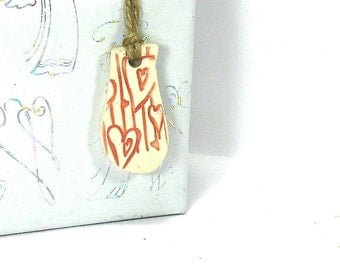 Ceramic Gift Tag, Stoneware Ornament - Weeping Pink Heart (Handmade OOAK Focal Pendant, Keychain, Ceramic Gift Tag, Ceramic Necklace)