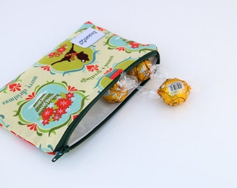 Stocking Stuffer, Reusable Snack Bag Zipper, Small Zipper Pouch, Handmade, Ready to Ship, Zookaboo