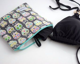 Wet Swimsuit Bag, Wet Bikini Bag, Wet Dry Bag, Beach Bag, Skull Bag, Handmade, Zookaboo, Ready to Ship