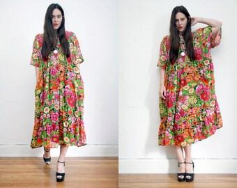 Vintage Indian Gauze Cotton Boho Dress Hippie Dress Ethnic Floral Gauze Cotton Dress 70's