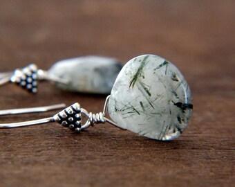 Quartz Earrings - Sterling Silver Earrings - Triangle Earrings - Gray Earrings - Dangle Earrings, Geometric Earrings, Natural Stone Earrings