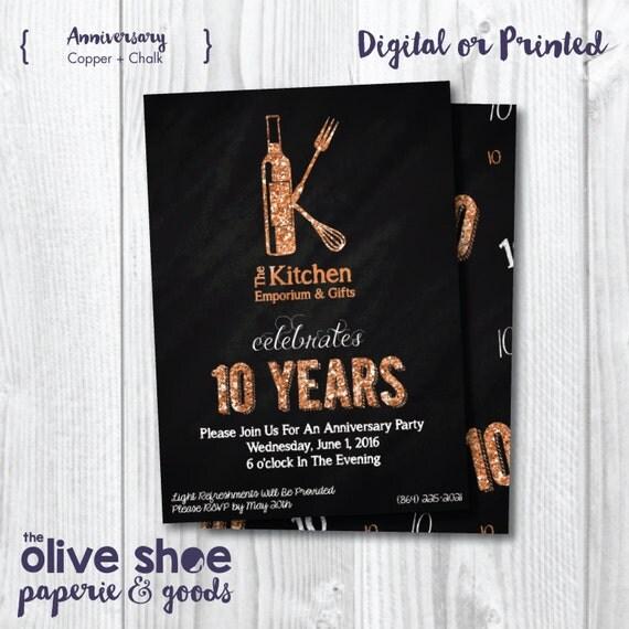 Anniversarity Invitation | Celebration | 10 Years | Chalkboard | Custom | Digital Or Print | Front and Back | 10th Anniversary