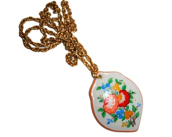 Vintage Hand Painted Porcelain Necklace - Gold Hand Painted Floral Vintage Russian Necklace