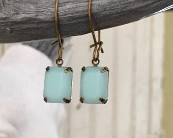 Vintage Crystal Earrings OPAQUE BLUE