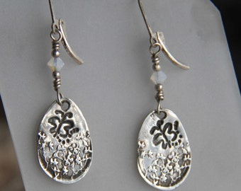 Fine silver Butterfly earrings with AB crystal