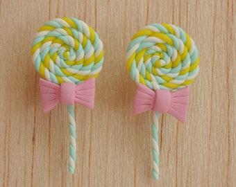 lollipop stud post earrings white pastel sky blue & yellow