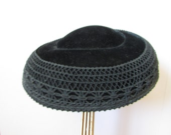 Black Velvet and Lace Hat
