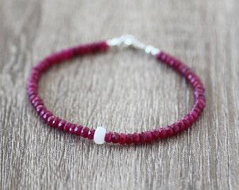 Ethiopian Opal with Deep Rubies Bracelet  / Stackable Gemstone Bracelet