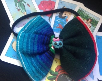 Serape Mexican Blanket Hair Bow with Blue Day Of The Dead Skull On Elastic Headband