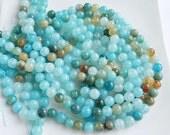"8mm  Aqua Blue vein agate, smooth  round beads FULL STRAND (15.5"")"