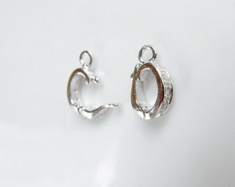 Sterling silver  and cz enhancer  bail with closed loop, Enhancer bail  (11.6x7mm)